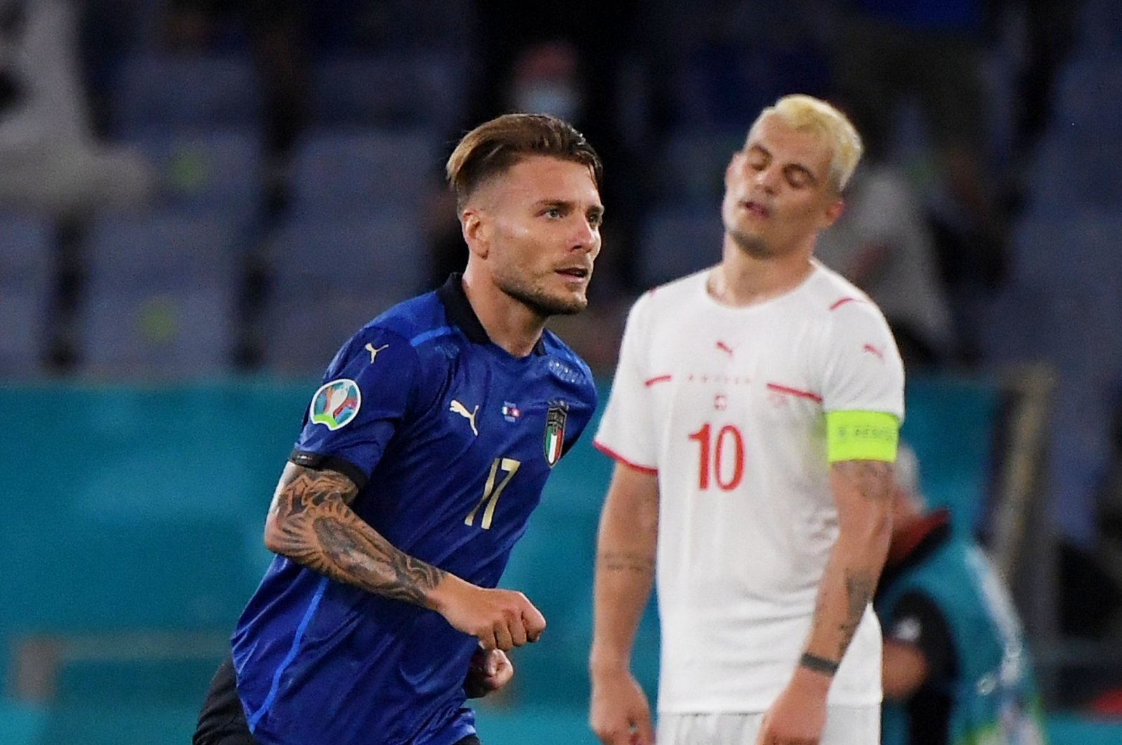 Italy's Ciro Immobile celebrates scoring their third goal in the Euro2020 Group A football match between Italy and Switzerland, Stadio Olimpico, Rome, Italy, June 16, 2021. (Reuters Photo)