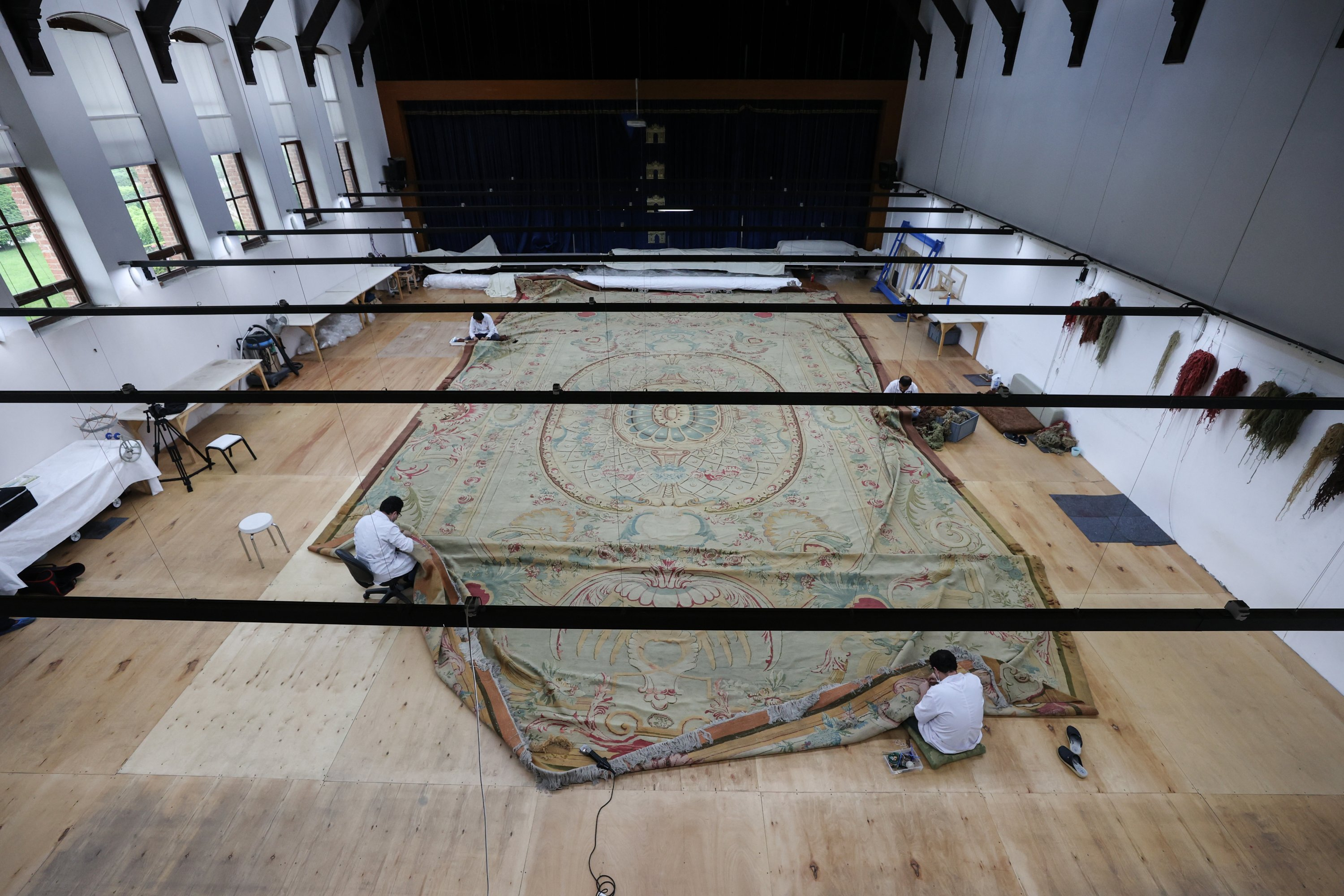 An aerial view from the restoration of the carpert in the workshop of the Yıldız Şale Mansion, Istanbul, Turkey, June 17, 2021. (AA Photo)