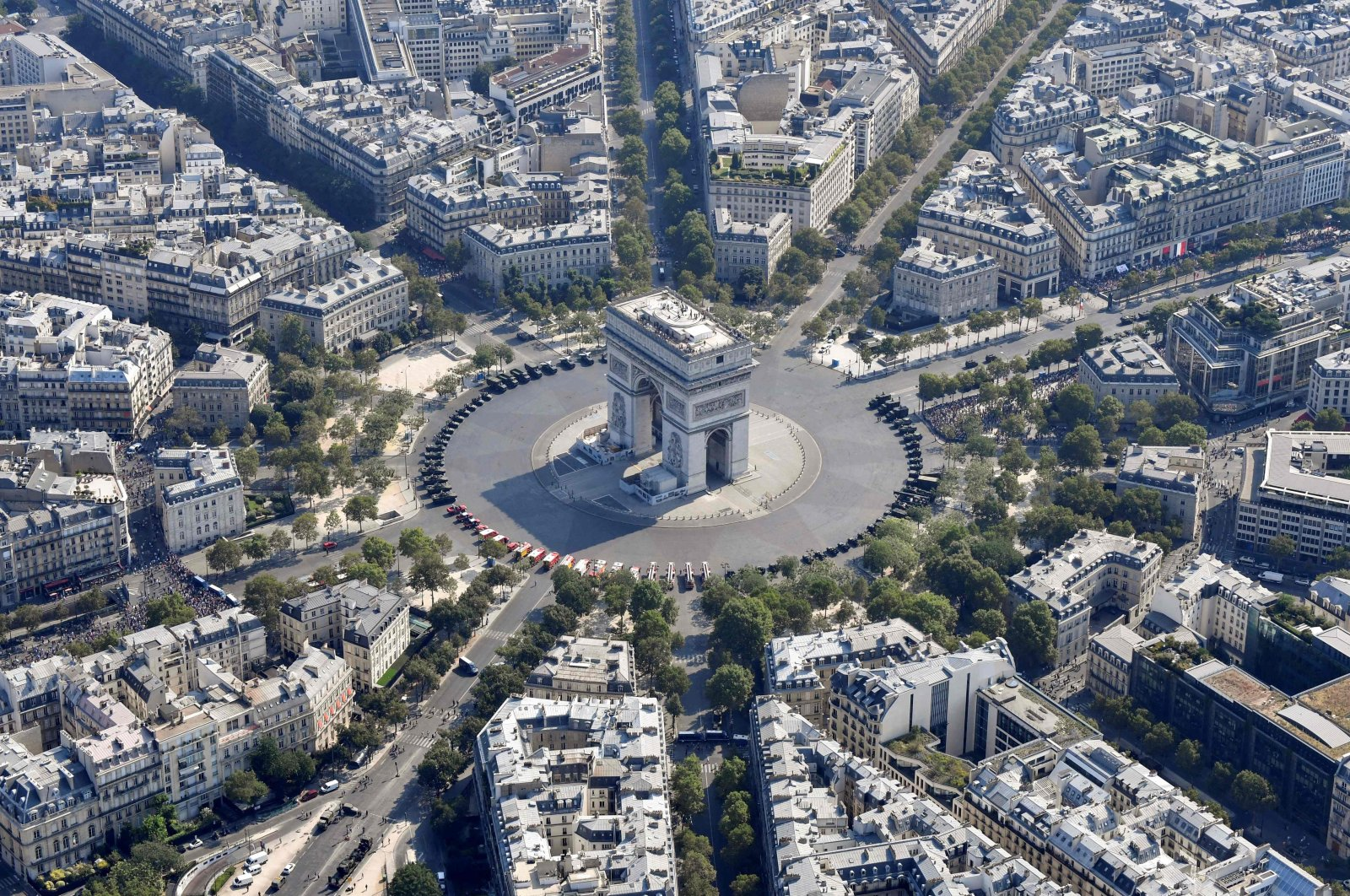 This file photo taken on July 14, 2018 shows an aerial view of the Arc de Triomphe prior to the annual Bastille Day military parade on the Champs-Elysees avenue in Paris. (AFP Photo)