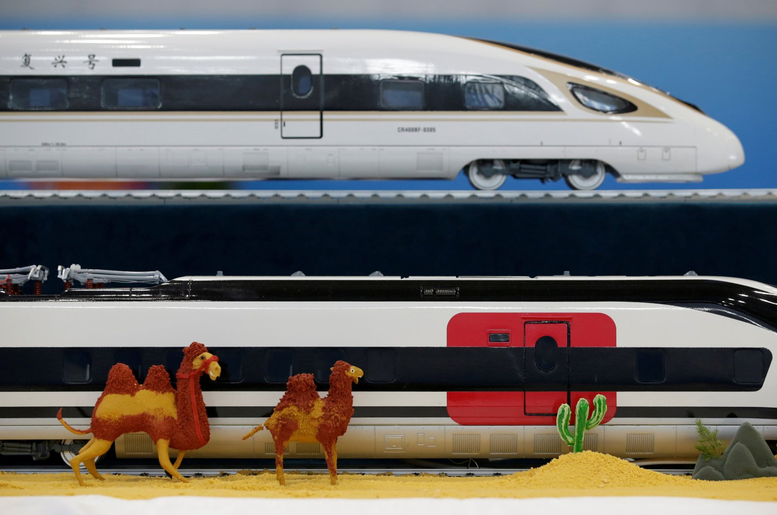 Replicas of China Railway high-speed trains are seen at a media center for the second Belt and Road Forum, in Beijing, China, April 26, 2019. (Reuters Photo)