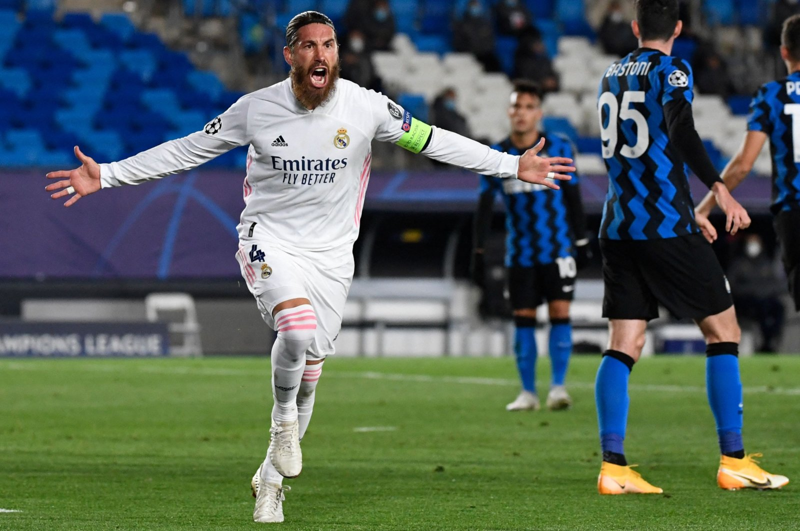 Real Madrid's Sergio Ramos celebrates his goal during a UEFA Champions League Group B match against Inter Milan at the Alfredo di Stefano stadium, Madrid, Spain, Nov. 3, 2020. (AFP Photo)