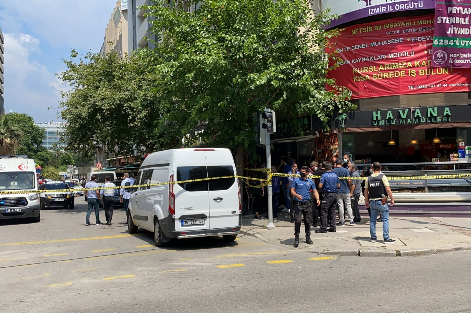 A person was detained after attacking a pro-PKK Peoples' Democratic Party (HDP) provincial office in western Turkey's Izmir province, June 17, 2021. (AA Photo)