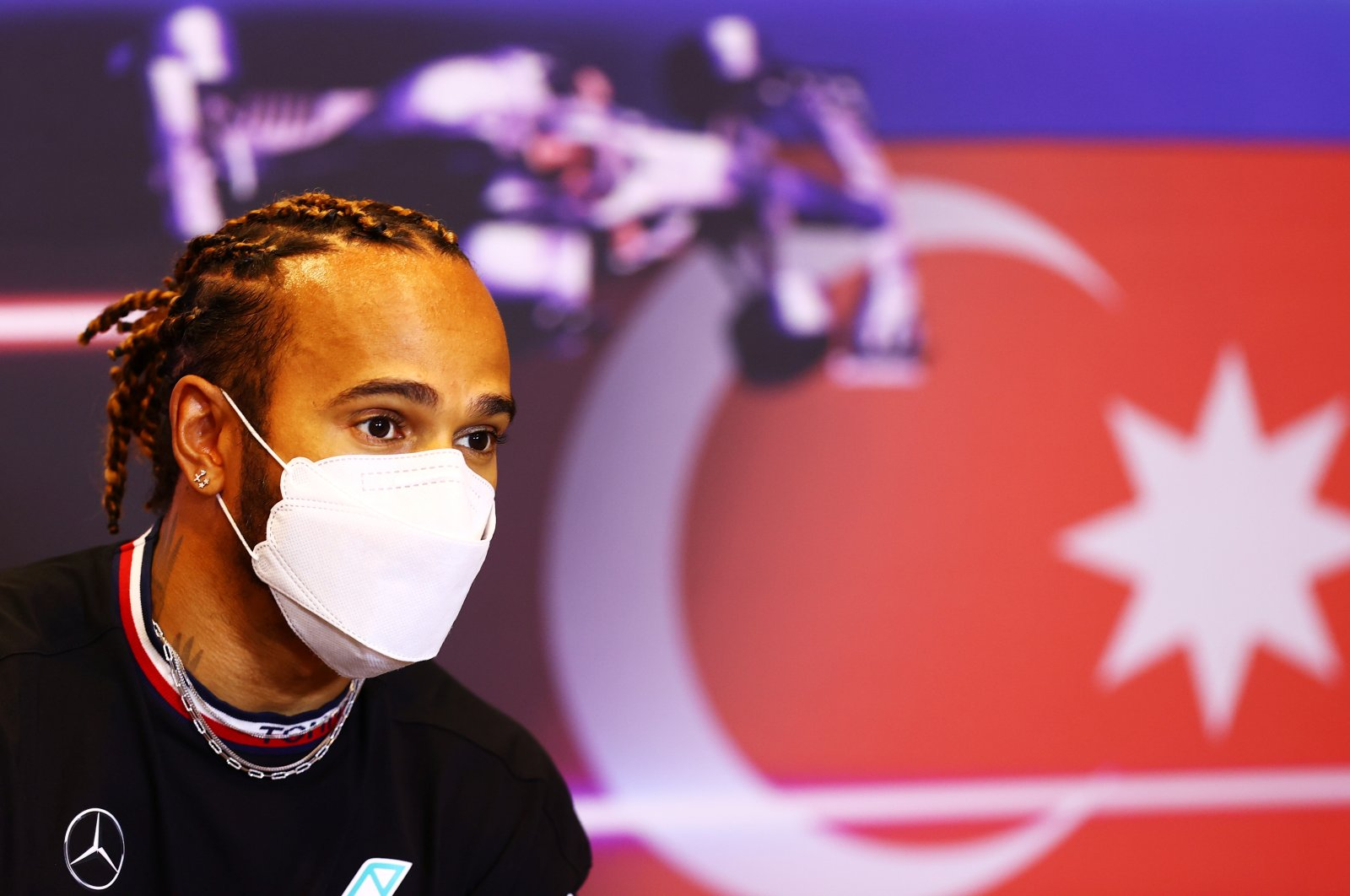 Mercedes' Lewis Hamilton during a press conference ahead of the Formula One Azerbaijan Grand Prix, Baku, Azerbaijan, June 3, 2021. (Reuters Photo)