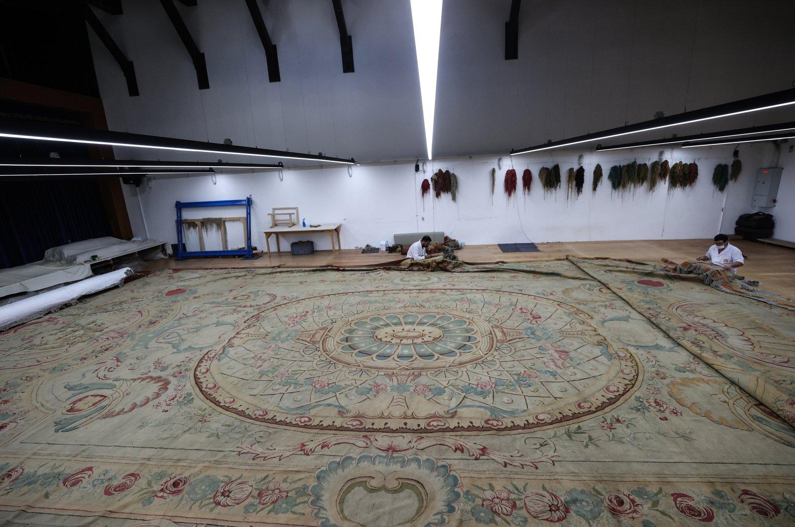 The carpet in the workshop of the Yıldız Şale Mansion, Istanbul, Turkey, June 17, 2021. (AA Photo)