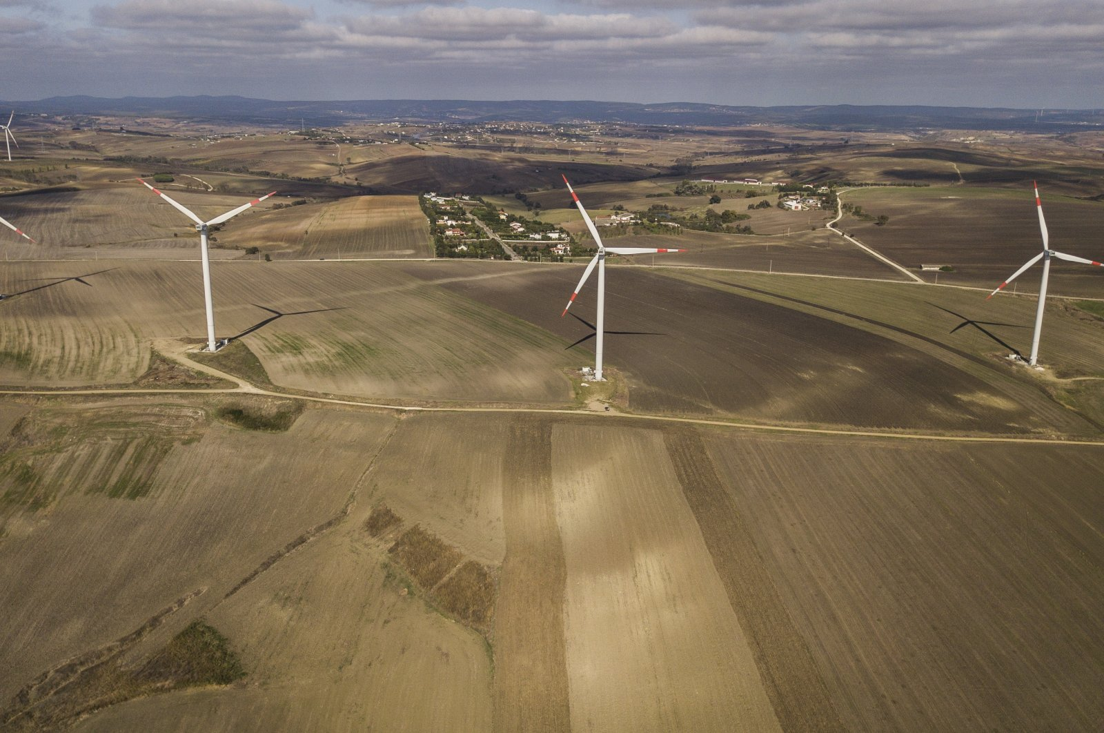 Wind turbines dot the countryside of Istanbul, Turkey, Oct. 22, 2020. (EPA Photo)