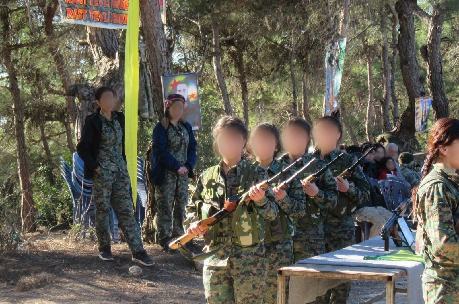 The YPG/PKK's child soldiers receiving training at an unknown location, Aug. 3, 2018. (AA File Photo)