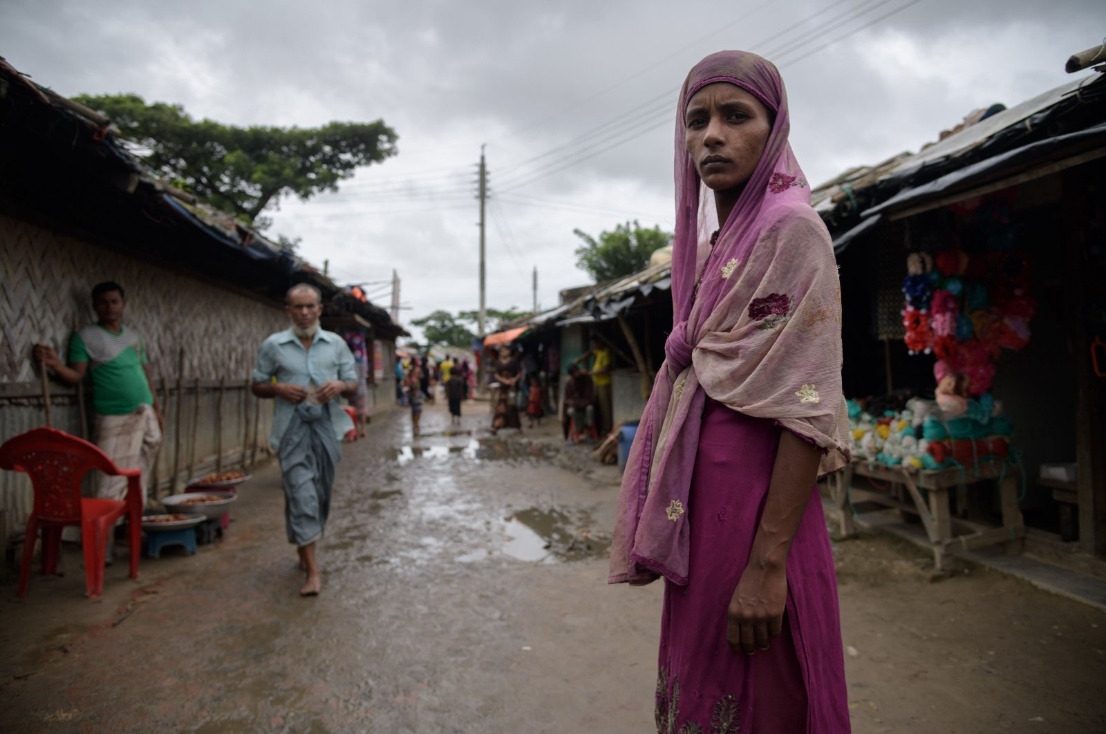 A Rohingya refugee stands on a path in the Nayapara refugee camp near Cox's Bazar, Bangladesh, August, 13, 2018.  (AFP Photo)