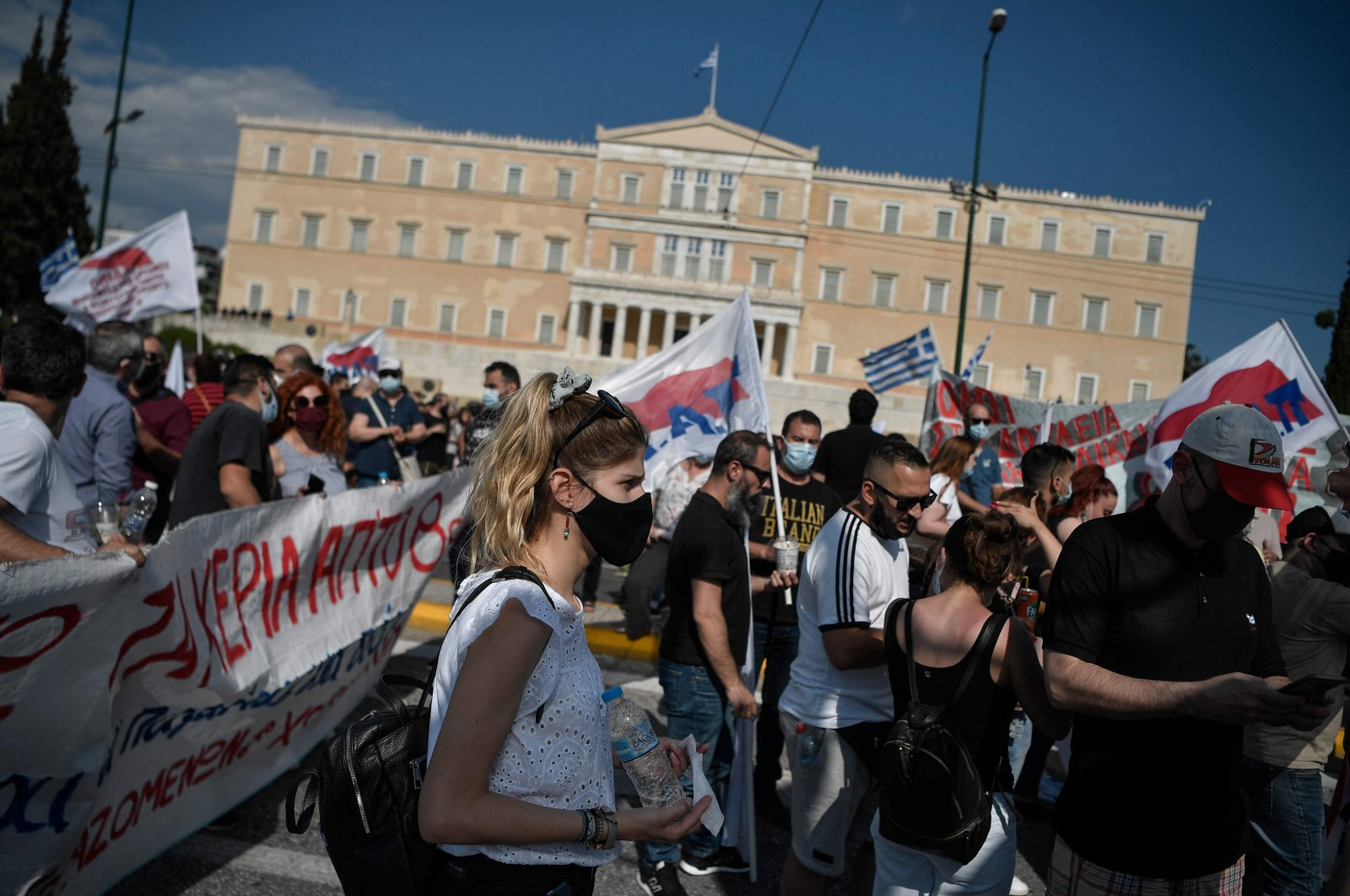 Protesters gather in front of the Greek parliament to protest against a new labor bill, Athens, Greece, June 16, 2021. (AFP Photo)