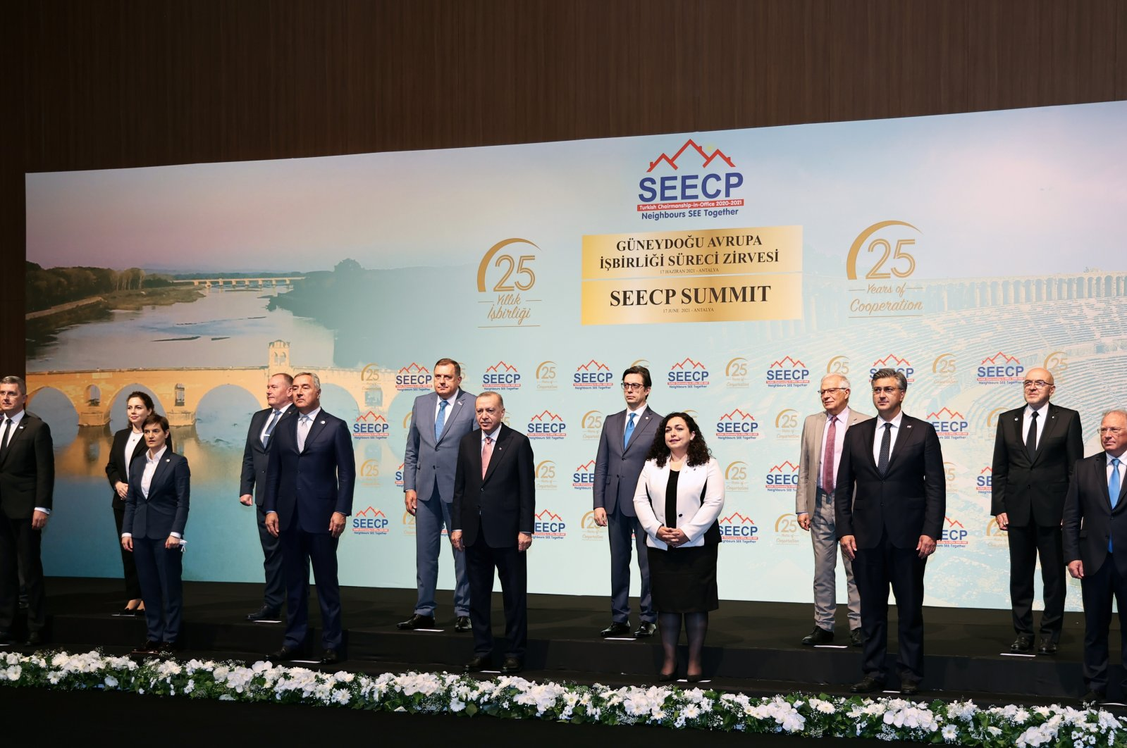 President Recep Tayyip Erdoğan (C) is pictured with participants in the Southeast European Cooperation Process (SEECP) summit in Antalya, Turkey, June 17, 2021. (AA Photo)