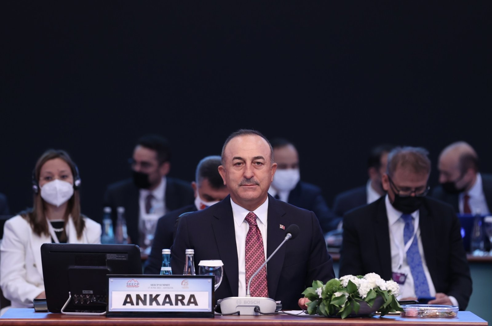 Foreign Minister Mevlüt Çavuşoğlu at the South East European Cooperation Process (SEECP) foreign ministers meeting in Antalya, Turkey, June 17, 2021. (AA Photo)