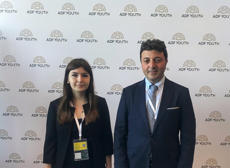 Tural Ganjaliyev, member of Azerbaijani parliament from Khankendi with Daily Sabah's Dilara Aslan at the Antalya Diplomacy Forum, Antalya, Turkey, June 18, 2021. (Daily Sabah Photo)