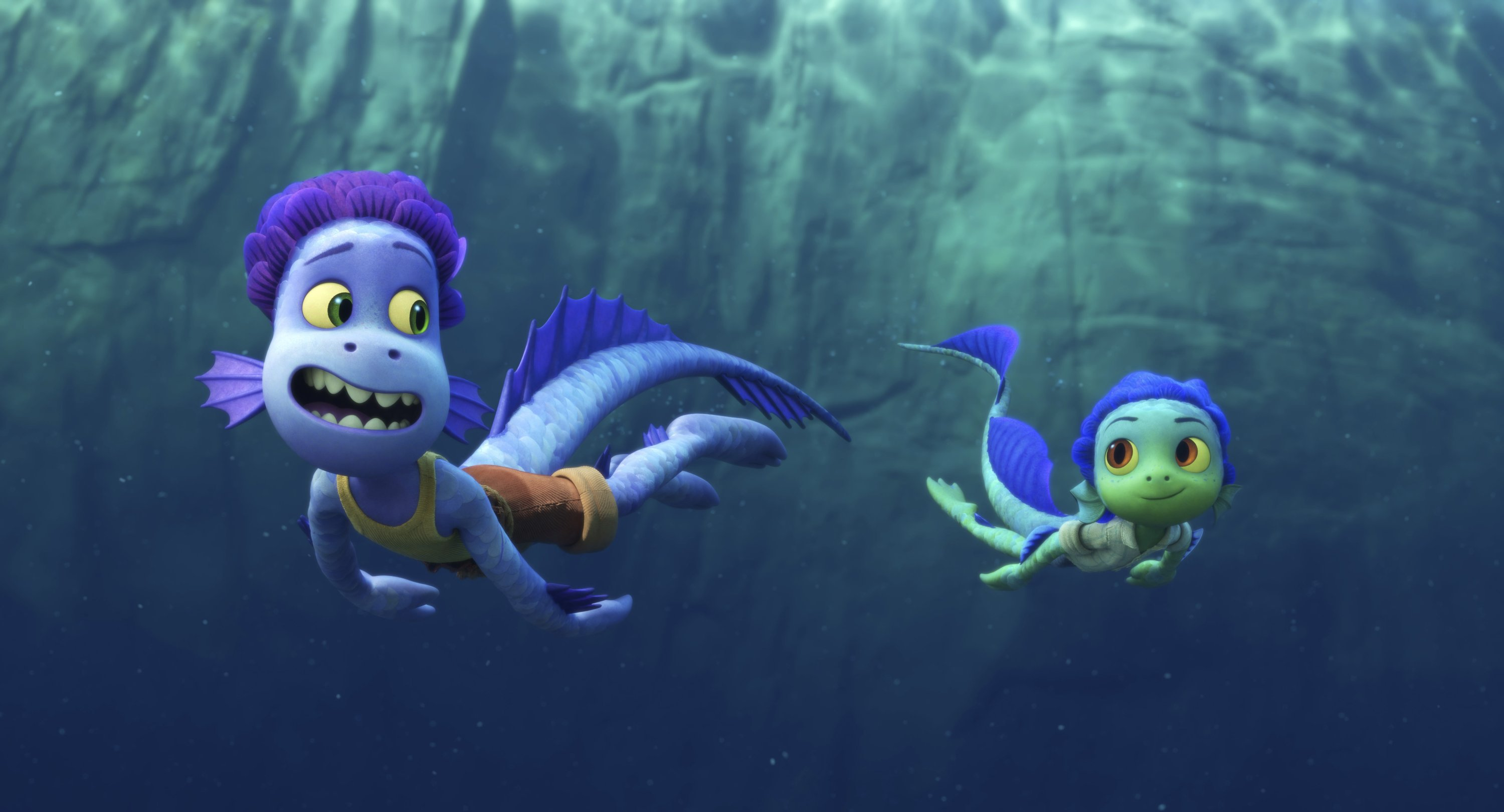 Alberto (L), voiced by Jack Dylan Grazer, and Luca, voiced by Jacob Tremblay, swim together in a scene from the animated film 'Luca.' (Photo by Disney via AP)