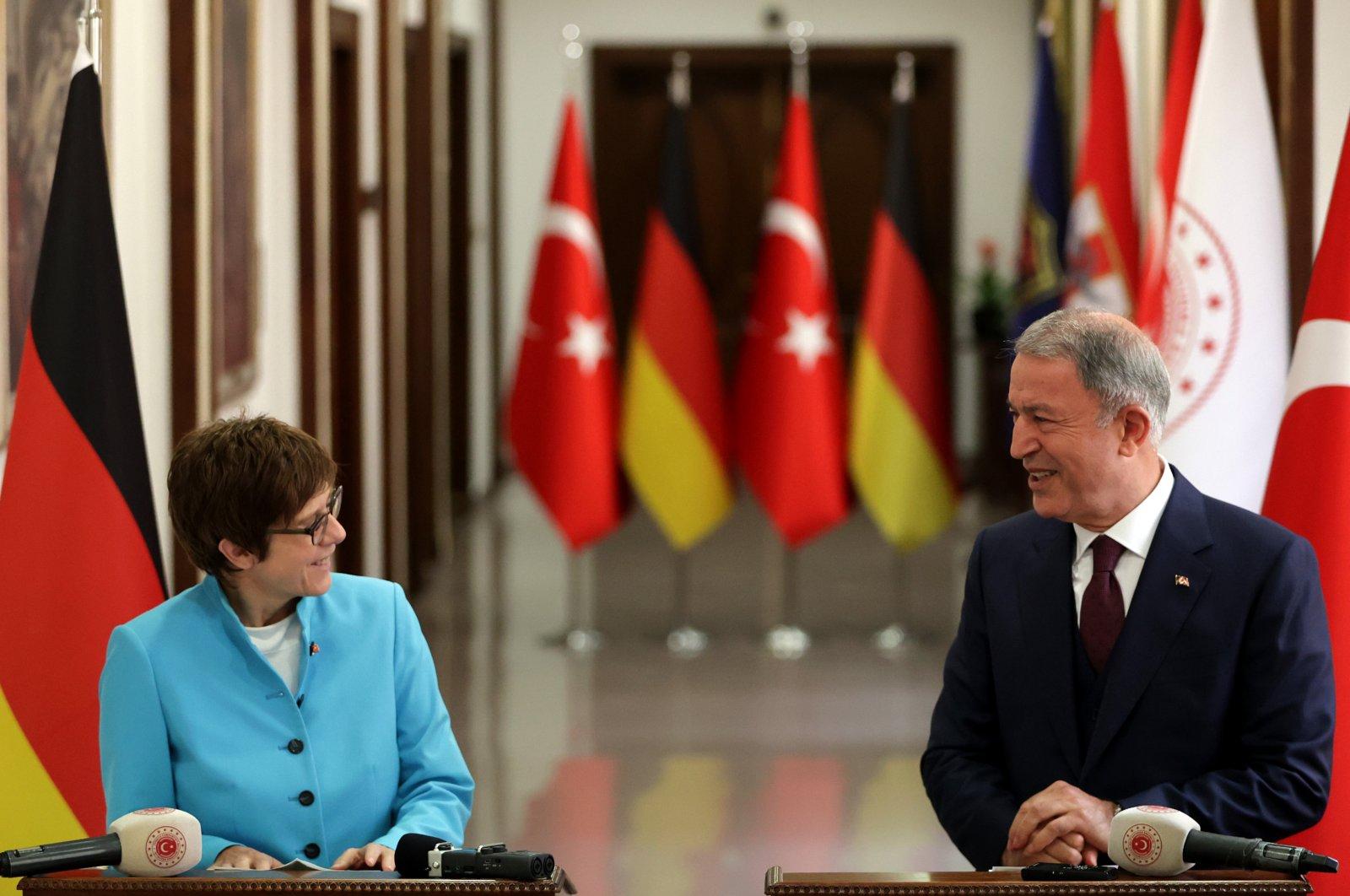 National Defense Minister Hulusi Akar and his German counterpart Annegret Kramp-Karrenbauer speak at a press conference in Ankara, Turkey, June 17, 2021. (AA Photo)