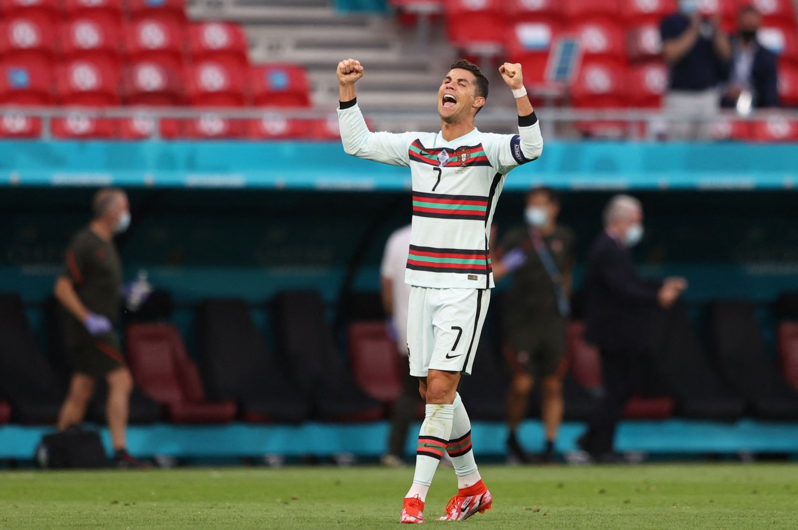 Cristiano Ronaldo celebrates at the end of the EURO 2020 match between Portugal and Hungary, in Budapest, Hungary, June 15, 2021. (AFP PHOTO)