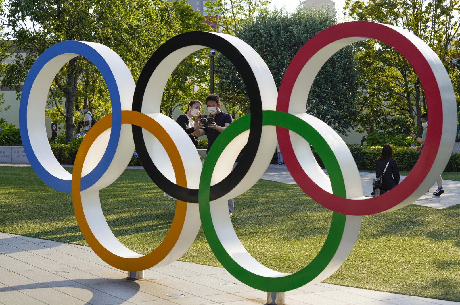 The Olympic Rings monument near National Stadium, the main venue of the Tokyo 2020 Olympics and Paralympics, Tokyo, Japan, June 17, 2021. (EPA Photo)