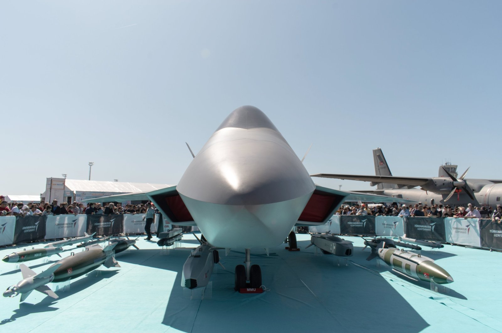 A life-size mock-up of the National Combat Aircraft (MMU) on display during Teknofest held between Sept. 17-22, 2019, at Atatürk Airport, Istanbul, Turkey. (Shutterstock Photo)