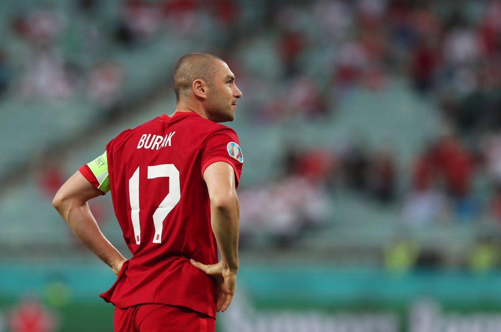 Turkey's Burak Yılmaz reacts during a Euro 2020 match against Wales at the Baku Olympic Stadium, in Baku, Azerbaijan, June 16, 2021. (EPA Photo)