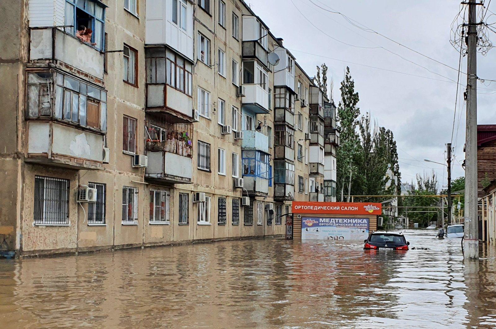 A view shows a flooded street following heavy rainfall in Kerch, Crimea, Ukraine, June 17, 2021. (Reuters Photo)