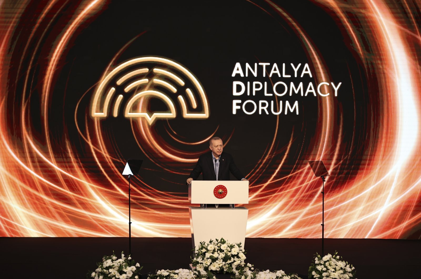 President Recep Tayyip Erdoğan speaks at the Antalya Diplomacy Forum in Antalya, Turkey, June 18, 2021. (AA Photo)