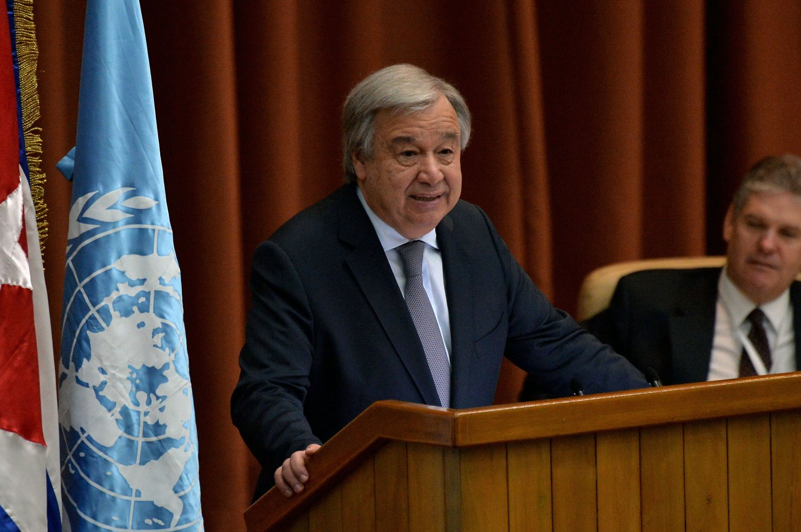 Antonio Guterres, secretary-general of the United Nations, delivers a speech during the inauguration of the 37th Session of the U.N. Economic Commission for Latin America and the Caribbean (CEPAL), at the Convention Palace in Havana, Cuba, May 8, 2018. (AFP Photo)