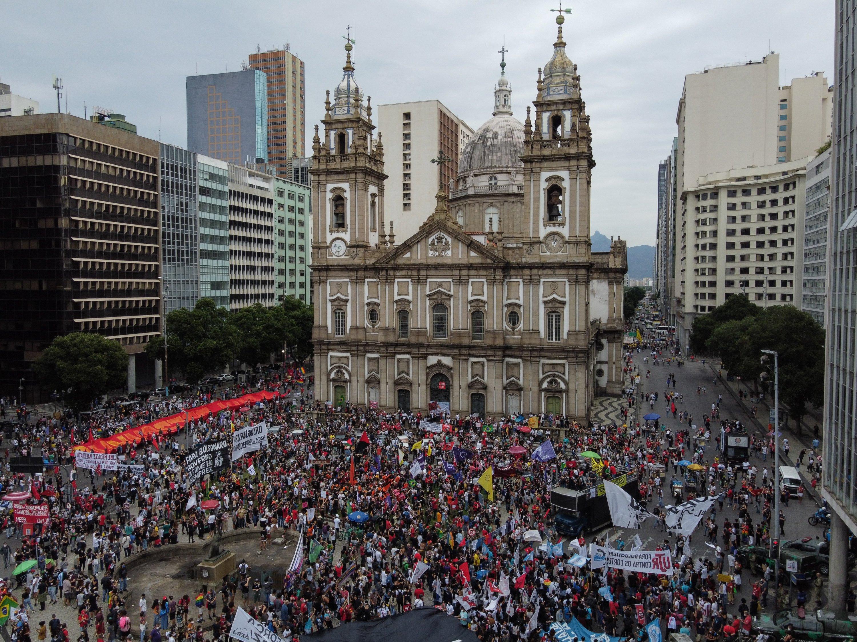 People participate in a protest against the Brazilian government, in Rio de Janeiro, Brazil, June 19, 2021. (EPA Photo)