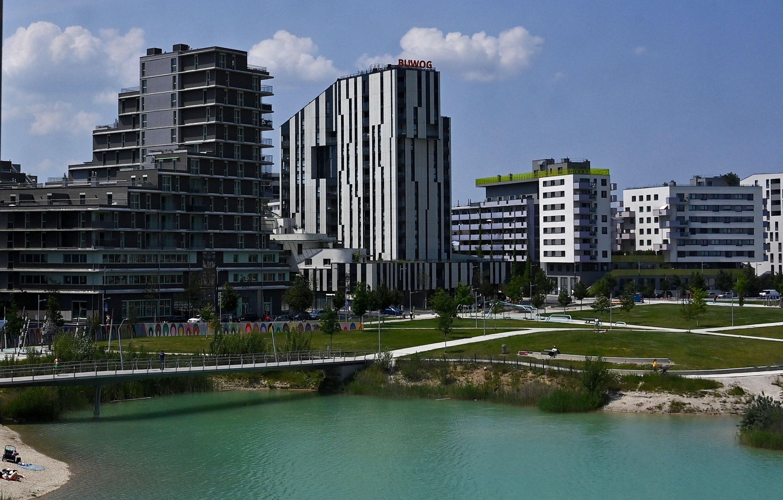 A general view of apartment buildings of Vienna's suburb Seestadt, Austria, June 8, 2021. (AFP Photo)