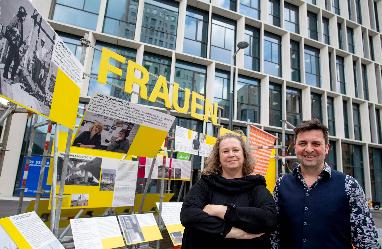 Katja Schechtner (L) and Wojciech Czaja, curators of the architecture exhibition 'Women build the city,' pose for a picture at Vienna's suburb Seestadt, Austria, June 8, 2021. (AFP Photo)