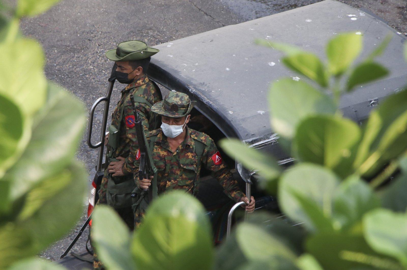 Soldiers patrol in Yangon, Myanmar, March 13, 2021. (AP Photo)