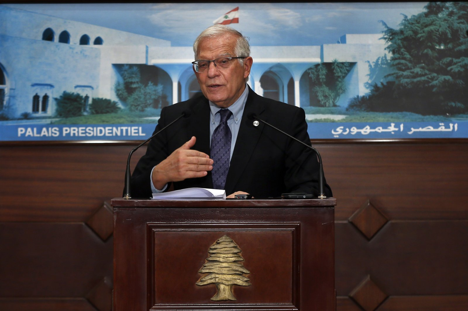 European Union foreign policy chief Josep Borrell speaks during a press conference after his meeting with Lebanese President Michel Aoun at the Presidential Palace in Baabda, east of Beirut, Lebanon, June 19, 2021. (AP Photo)