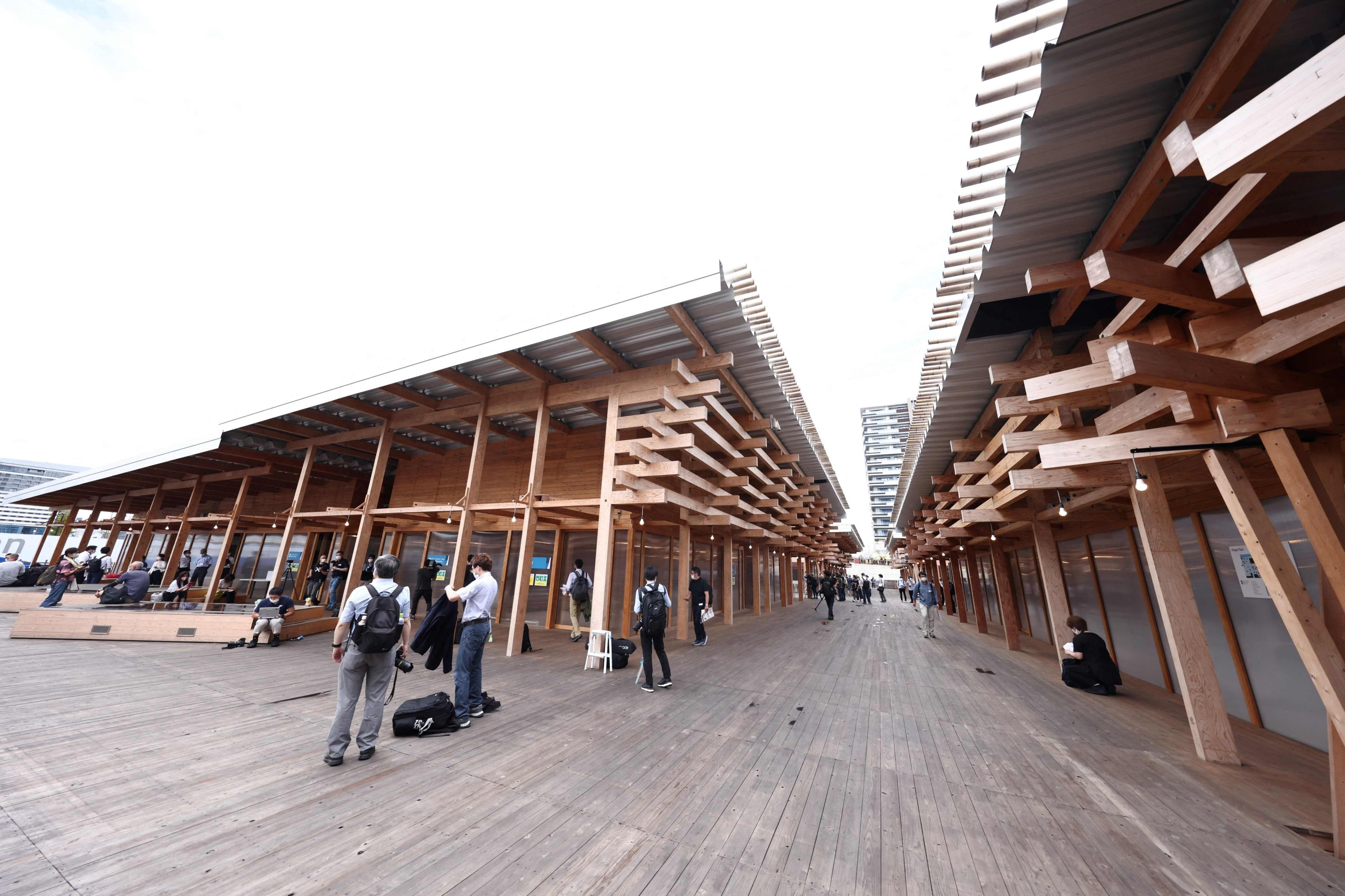 A general view of the wooden architecture of the 'Village Plaza,' at the Olympic Village for the 2020 Tokyo Olympic Games in Tokyo, Japan, June 20, 2021. (AFP Photo)