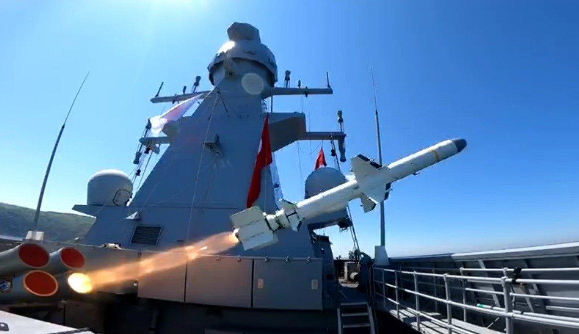 Turkey's anti-ship Atmaca missile rockets from theTCG Kınalıada corvette off the Black Sea province of Sinop, Turkey, June 18, 2021. (IHA Photo)