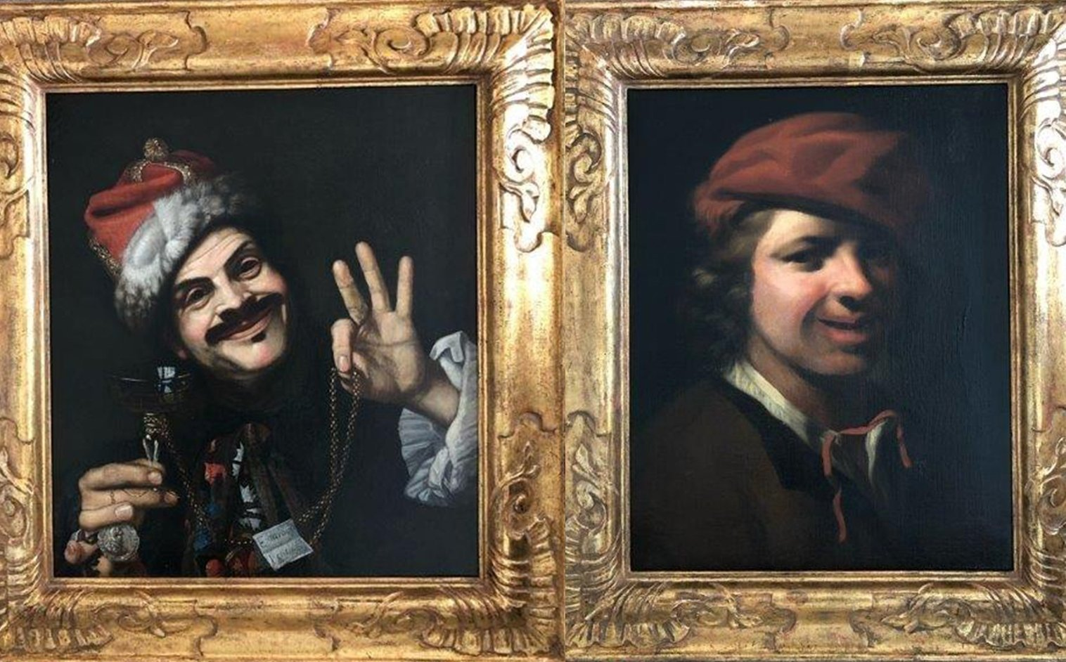 """""""Self-portrait of the artist as Laughter"""" by Italian 17th-century artist Pietro Bellotti (L) and """"Portrait of a young boy"""" by Samuel van Hoogstraten are seen in this combination photo made from images shared by the police in Bavaria, Germany, June 20, 2021"""