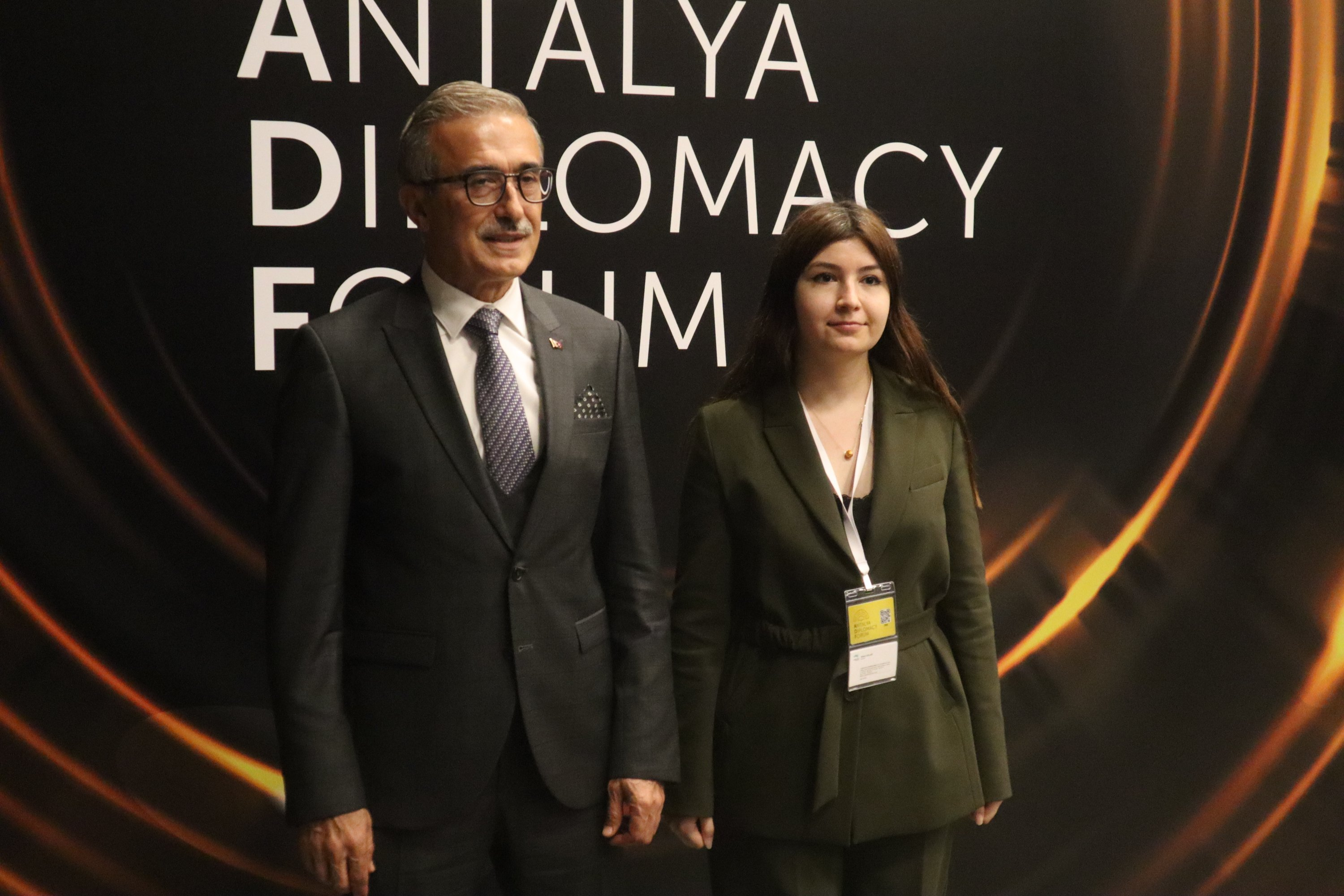 Presidency of Defense Industries (SSB) Chairperson Ismail Demir together with Daily Sabah's Dilara Aslan at the Antalya Diplomacy Forum in Antalya province, June 19, 2021 (Daily Sabah Photo)