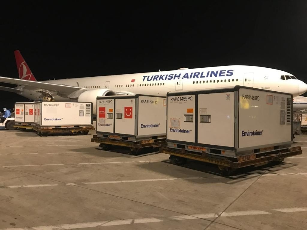 Containers of Sinovac's CoronaVac vaccine at an airport, in Istanbul, Turkey, June 19, 2021. (İHA PHOTO)