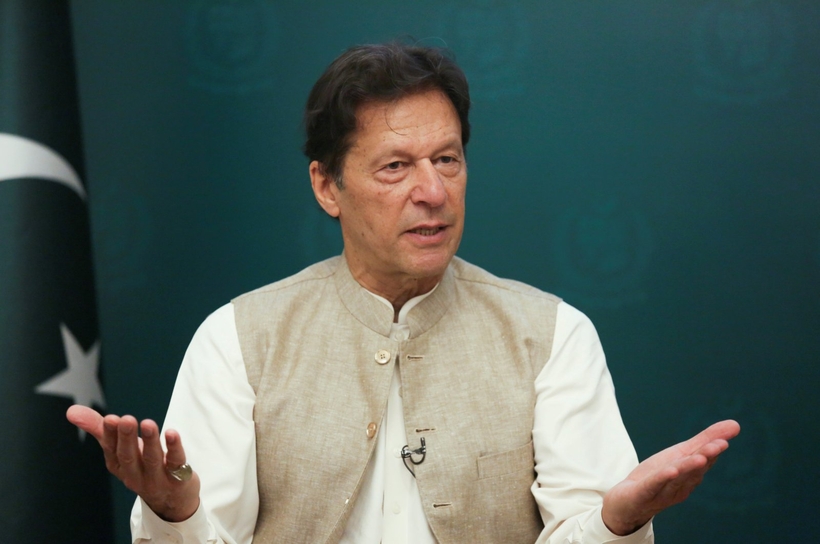 Pakistan's Prime Minister Imran Khan gestures during an interview with Reuters in Islamabad, Pakistan, June 4, 2021. (Reuters Photo)