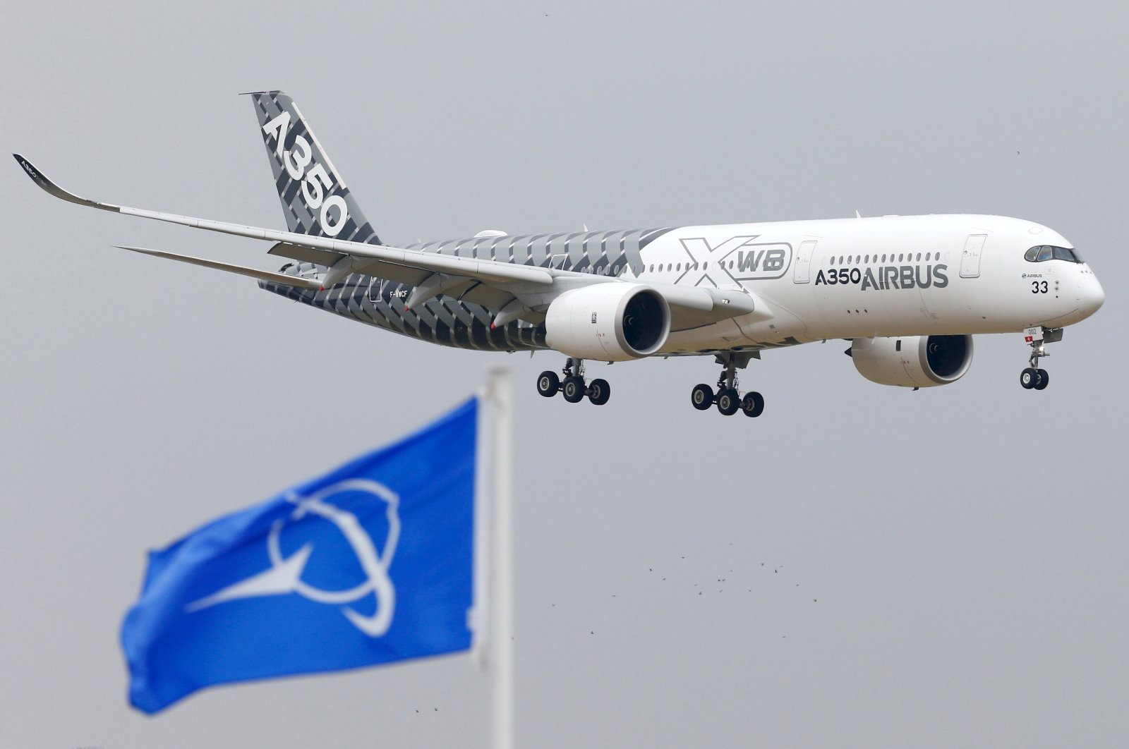 An Airbus A350 jetliner flies over Boeing flags as it lands after a flying display during the 51st Paris Air Show at Le Bourget airport near Paris, France, June 15, 2015. (Reuters Photo)