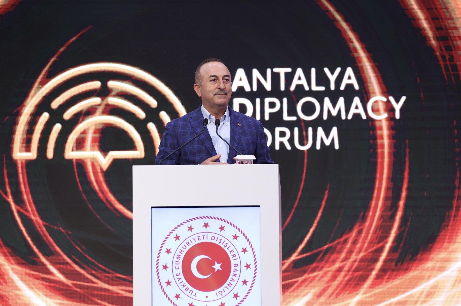 Foreign Minister Mevlüt Çavuşoğlu speaks at the Antalya Diplomacy Forum, Antalya, Turkey, June 20, 2021 (AA Photo)