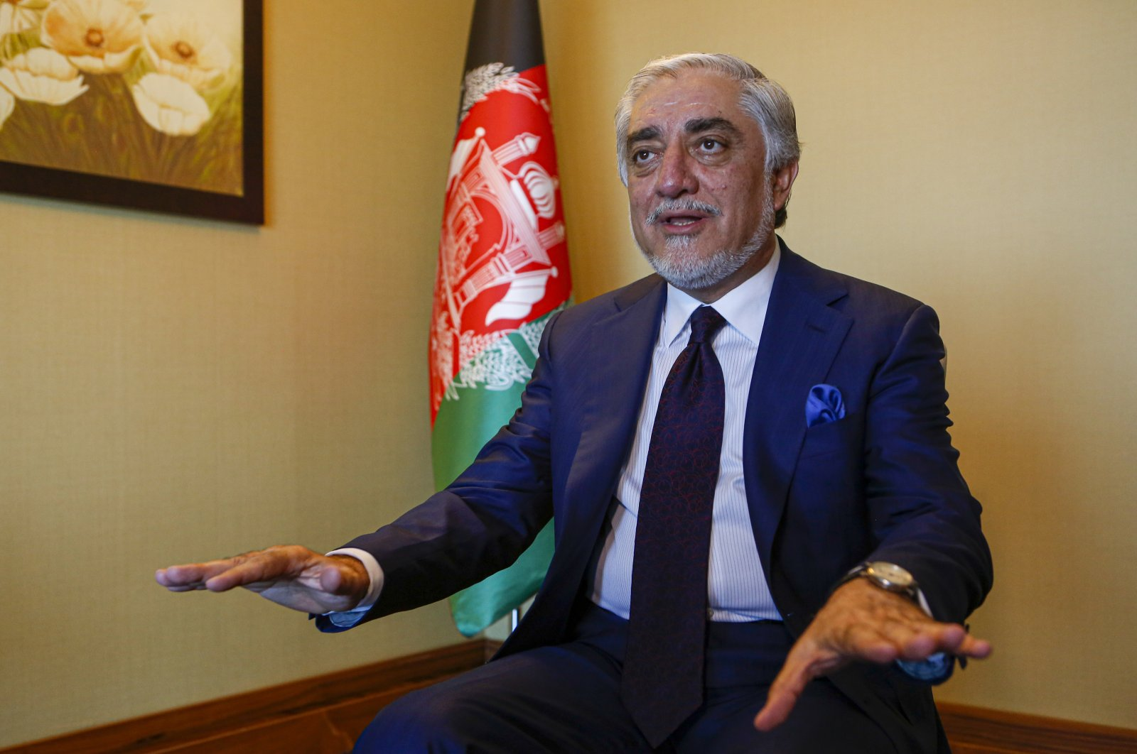 Abdullah Abdullah, head of Afghanistan's National Reconciliation Council, gestures as he talks during an interview on the sidelines of a diplomatic forum in Antalya, Turkey, June 18, 2021. (AP Photo)