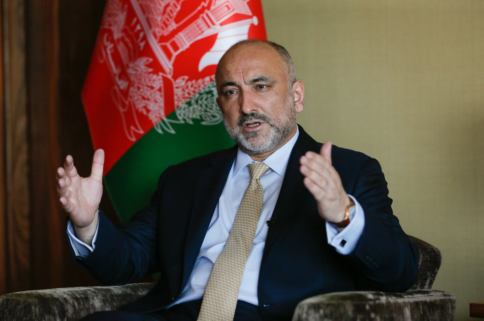 Afghan Foreign Minister Haneef Atmar gestures during an interview with Anadolu Agency (AA) in Antalya, Turkey, June 20, 2021. (AA Photo)