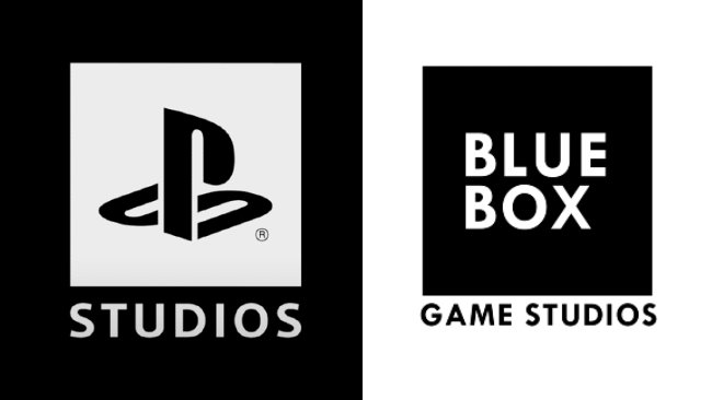 The logos of PlayStation Studios and Blue Box Studios share the same font and art style