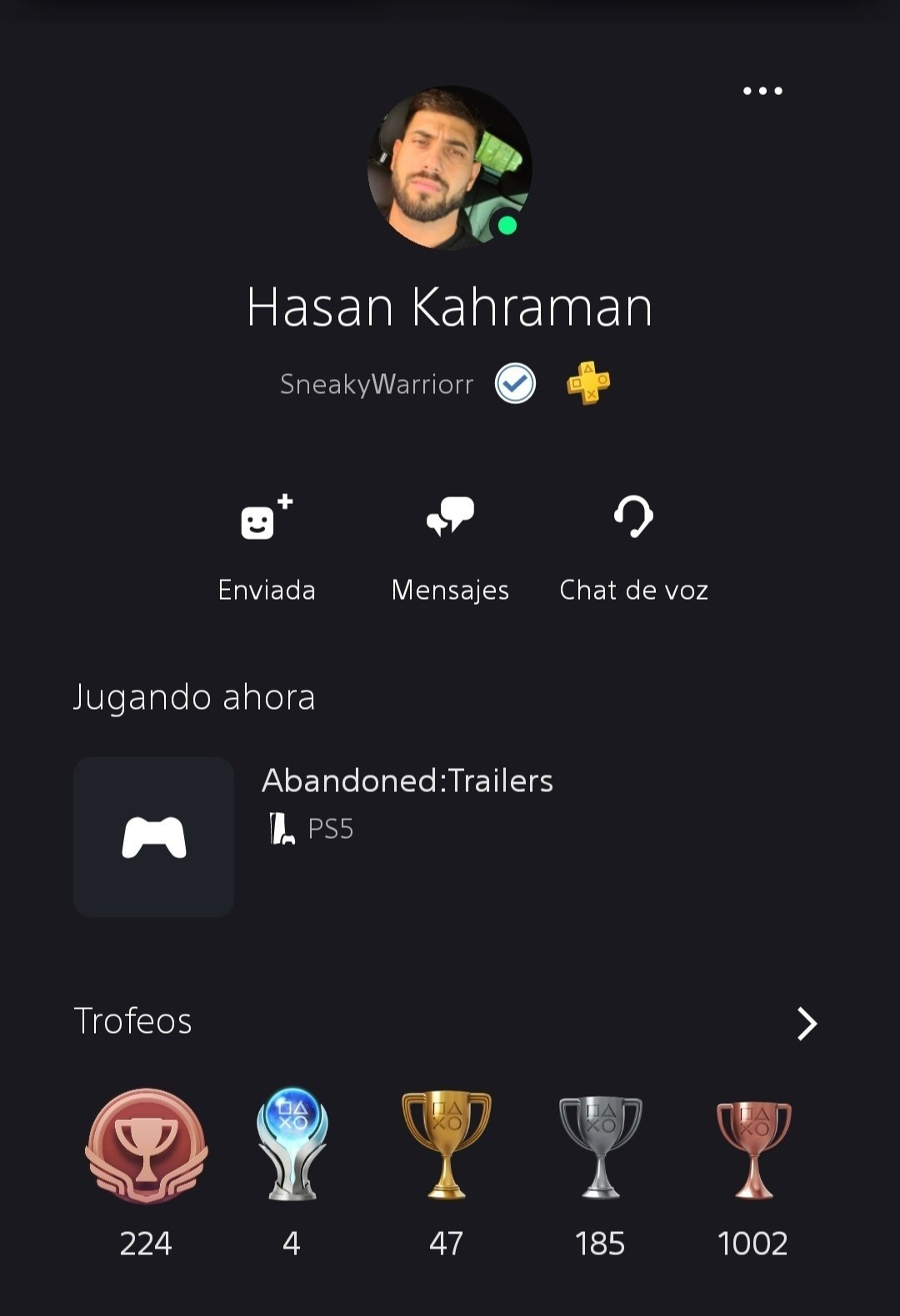 """Hasan Kahraman's PSN account nicknamed """"SneakyWarrior"""" with 1238 trophies in total"""