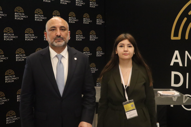 Afghan Foreign Minister Haneef Atmar (L) speaks with Daily Sabah's Dilara Aslan at the Antalya Diplomacy Forum, Turkey, June 19, 2021. (Daily Sabah Photo)