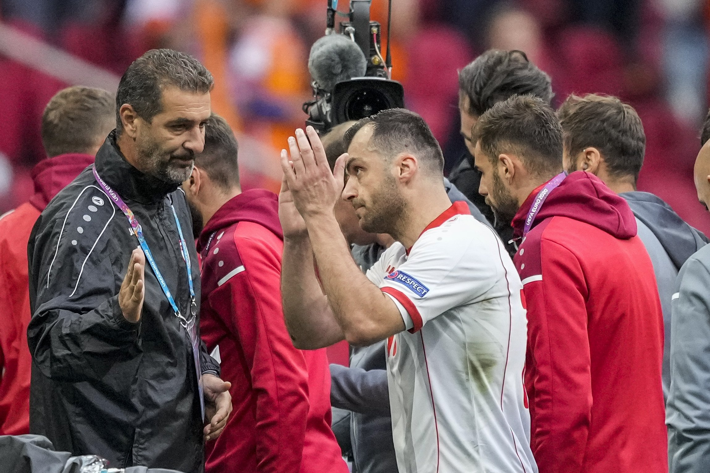North Macedonia's Goran Pandev (C), leaves the pitch during a UEFA Euro 2020 Group C match against the Netherlands at Johan Cruijff Arena in Amsterdam, Netherlands, June 21, 2021. (AP Photo/Peter Dejong/Pool)