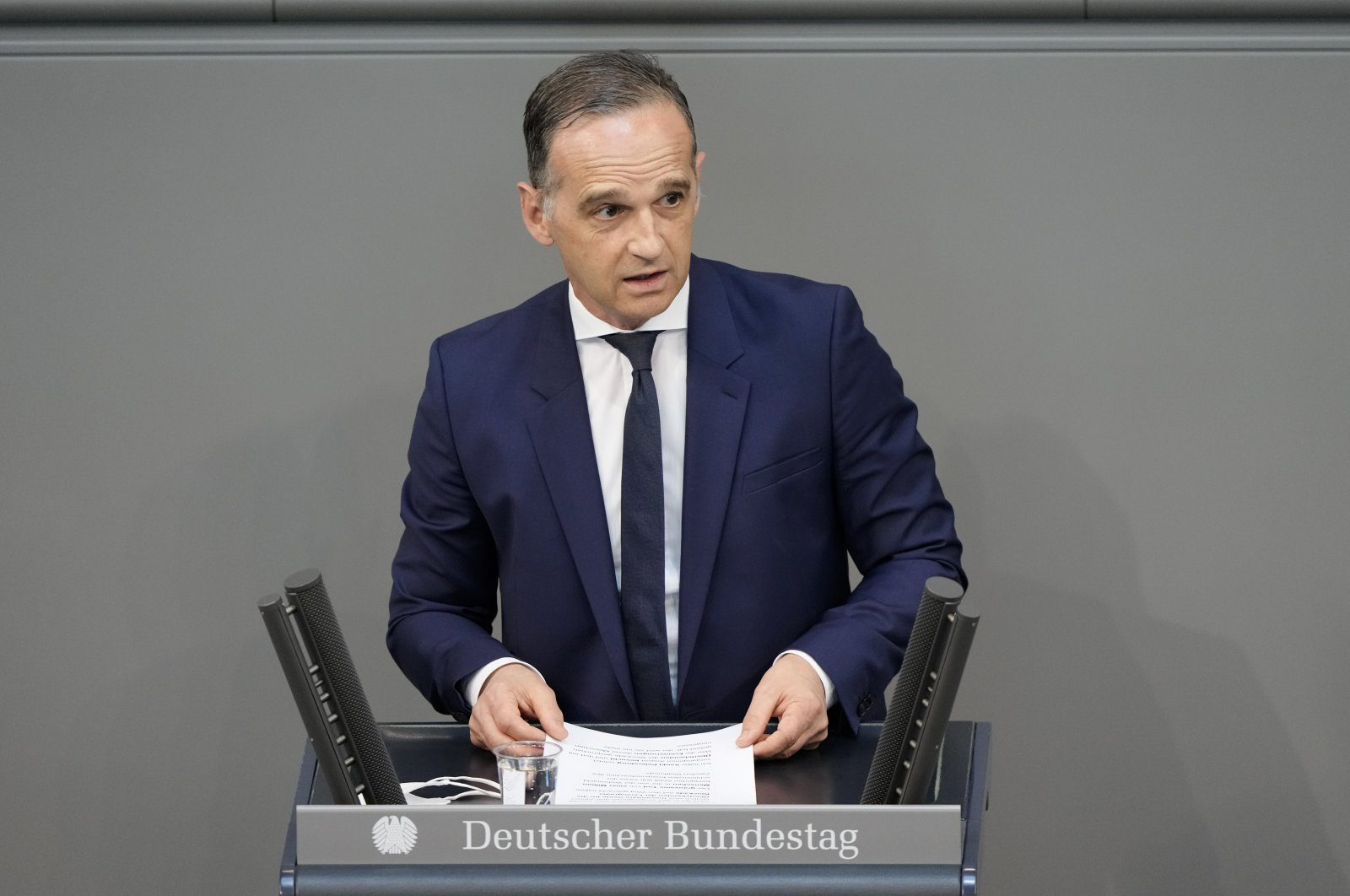 German Foreign Minister Heiko Maas delivers his speech during a debate about the 80th anniversary of the Nazi Germany attack on the Soviet Union, at Germany's Bundestag in Berlin, Germany, June 9, 2021. (AP Photo)