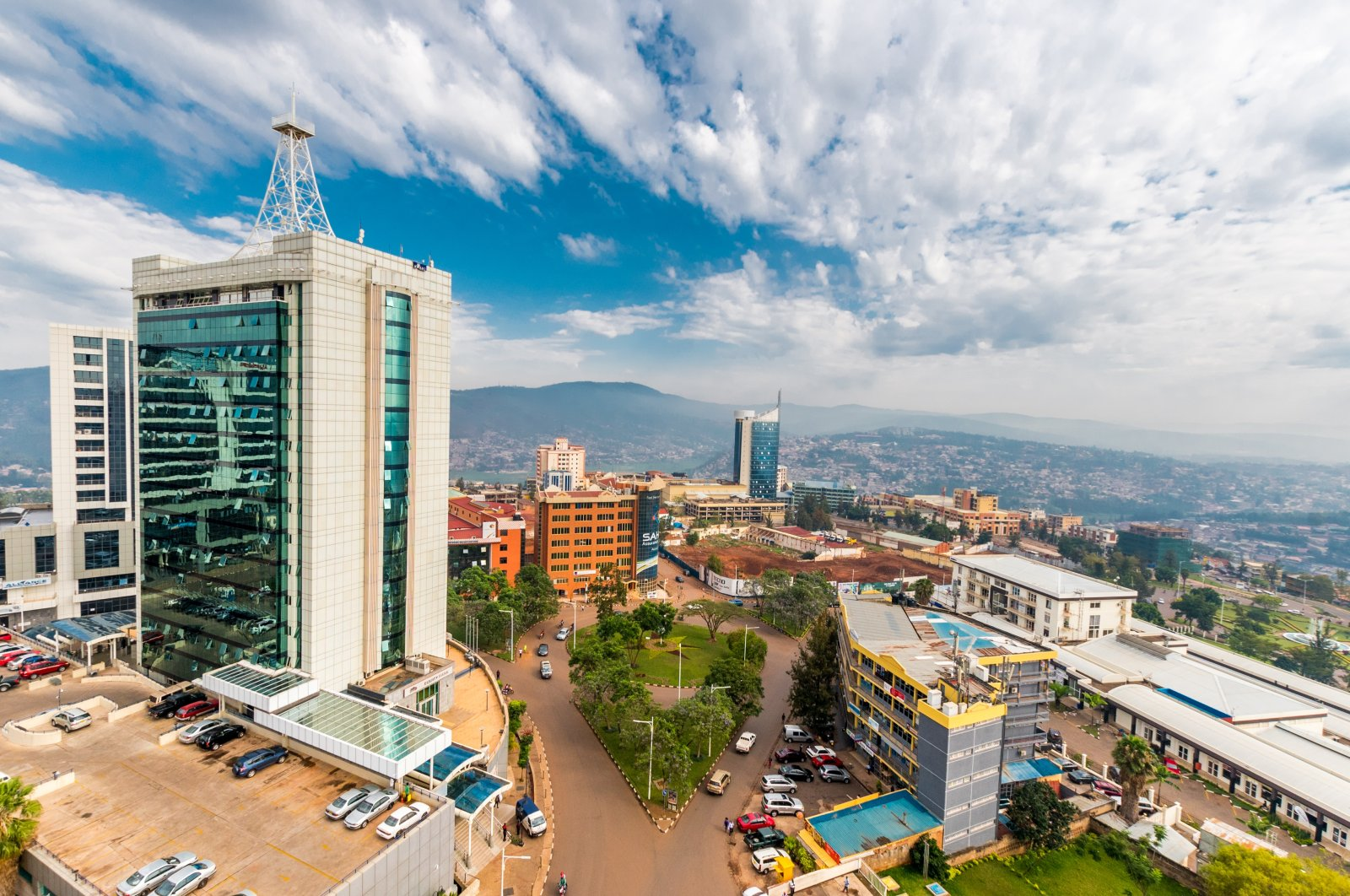 A view looking down on the city center with Pension Plaza in the foreground and Kigali City Tower in the background, Kigali, Rwanda, Sept. 21, 2018. (Shutterstock Photo)