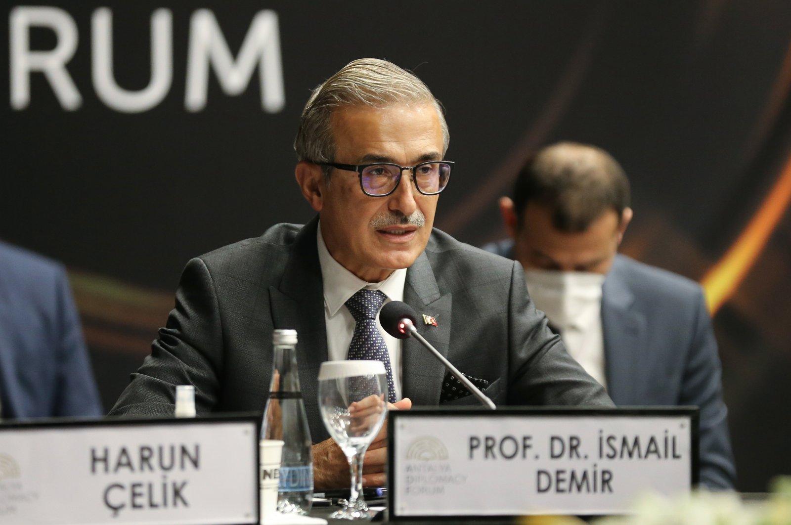 Presidency of Defense Industries (SSB) Chairperson Ismail Demir speaking at the Antalya Diplomacy Forum in Antalya, southern Turkey, June 19, 2021. (AA Photo)