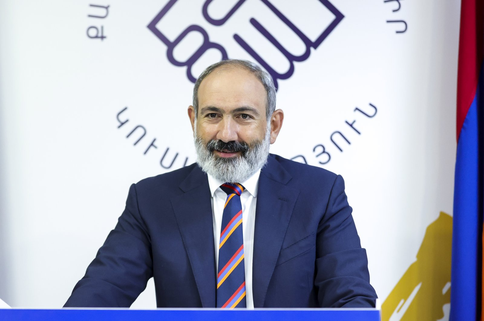 Armenian acting Prime Minister Nikol Pashinian speaks to his party colleagues after parliamentary elections in Yerevan, Armenia, June 21, 2021. (AP Photo)