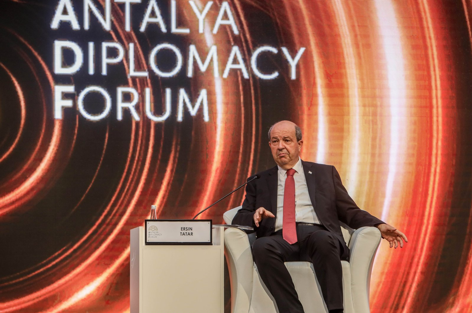 Ersin Tatar, the president of the Turkish Republic of Northern Cyprus (TRNC), attends a session of the Antalya Diplomacy Forum, Antalya, Turkey, June 19, 2021. (DHA Photo)