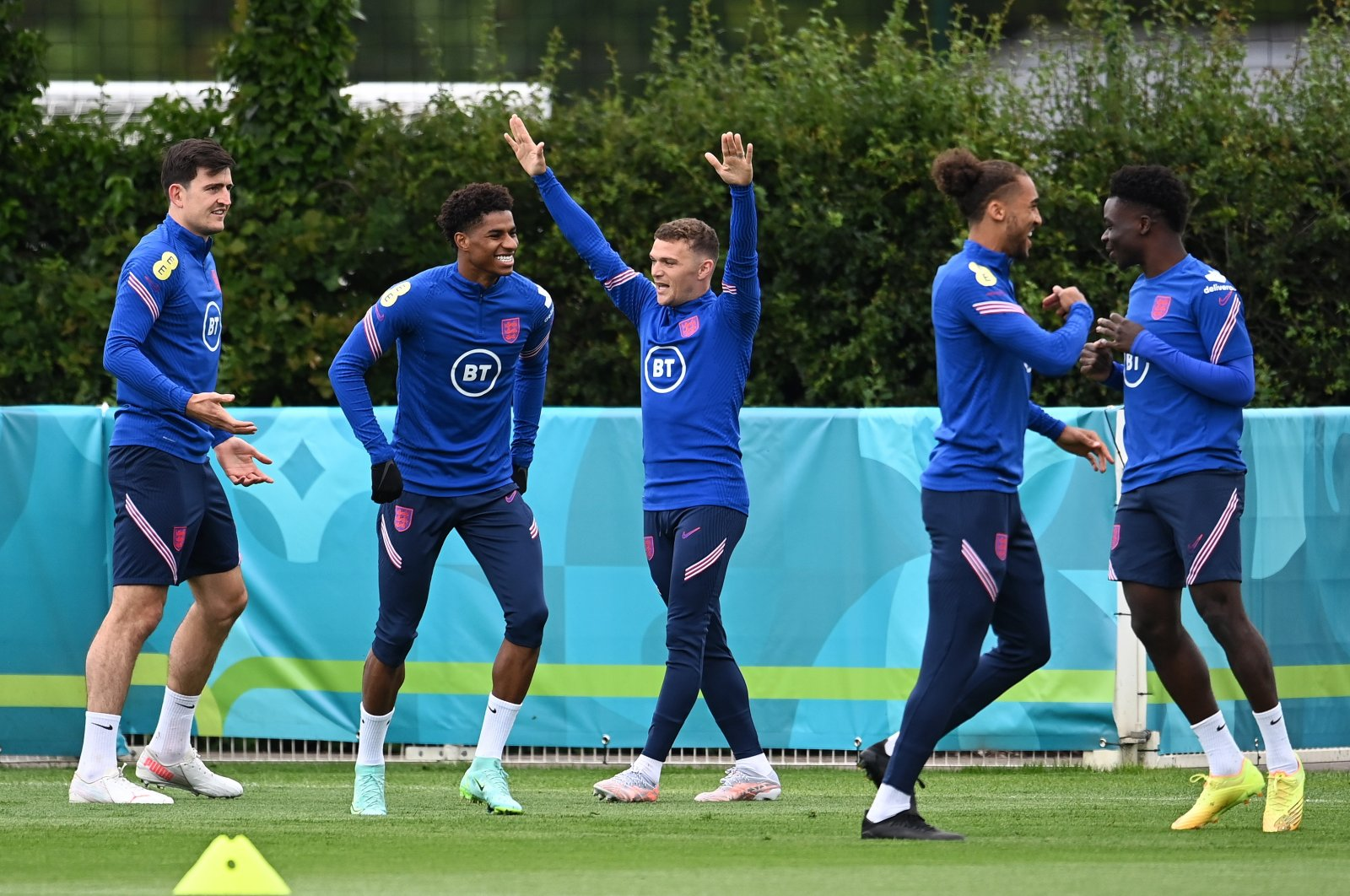 England players during a training session at Tottenham Hotspurs training ground in north London, England, June 19, 2021. (EPA Photo)