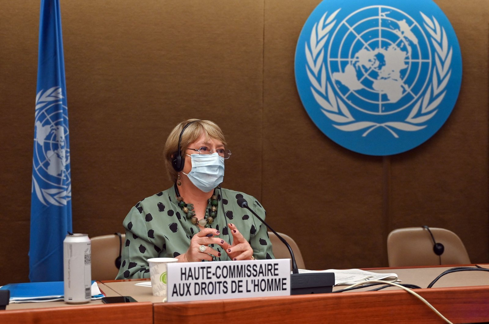 United Nations High Commissioner for Human Rights Michelle Bachelet looks on after delivering a speech on global human rights developments during a session of the Human Rights Council in Geneva, Switzerland, on June 21, 2021. (AFP Photo)